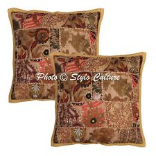 Handmade Cotton Vintage Patchwork Cushion Cover Brown Floral Sofa Cushion Cover