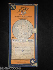 Vintage French Michelin Map of Aurillac/St Etienne (Feuille 76/France) c1946
