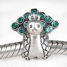 NEW 925 Sterling Silver European Bracelet Charm Bead Crystal Pave Peacock