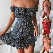 ❤️ Women's Sexy Polka Dot Off Shoulder Mini Dress Summer Beach Ruffle Sundress