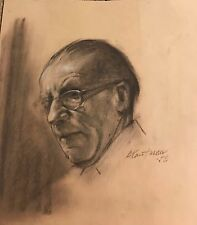 "original charcoal drawing ""sid"" signed stuart kaufman 1926-2008"