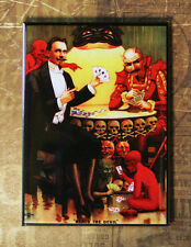 "BEATS THE DEVIL Fridge Magnet - Art from Antique Postcard Imps Poker 3.5 x 2.5"""