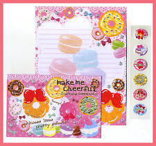 Very cute donut macaroon dessert sweetholic pink Letter Set w Sticker
