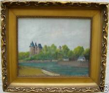 """Belle huile 1930 sig LEBON """" chateau sur la berge """""""