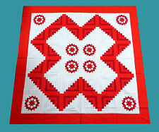 Beautiful Red & White Log Cabin Carpenter's Star  QUILT TOP