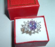 Vintage Lavender Cubic Zirconia Ring Sz 8.25 In Box