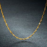 """Fine Pure Au750 18k Yellow Gold Necklace Charming Singapore Chain  1mmW 15.7""""L"""