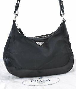 Authentic PRADA Nylon Leather Shoulder Hand Bag Black D9575