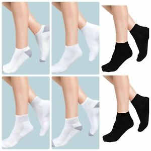 12 Pairs Men Women Ankle Low Cut Crew Liner Cotton Sports Size UK 6-11 & UK 4-7