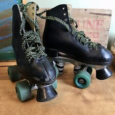 Vintage Dominion Canada Esprit Black Green Leather Roller Skates Youth 2 9 98
