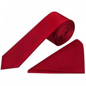 Plain Scarlet Red Satin Silk Skinny Men's Tie and Pocket Square Set Wedding Tie