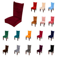 Stretch Fox Velvet Fabric Dining Room Wedding Kitchen Home Short Chair Seat C TD