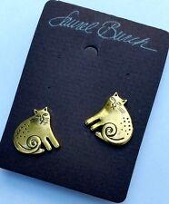 Laurel Burch Keshire Kitty Cat Post Earrings Gold Tone