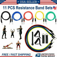 Resistance Bands Set Yoga Pilates Abs Exercise Fitness Tube Workout Bands 11PCS