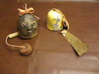 VINTAGE HANGING WIND BELL COLLECTIBLE 2 POTTERY CERAMIC CLAY BELLS - 1 WITH TAG
