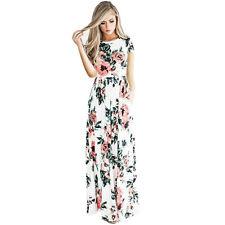US Womens Floral Print Long Sleeve Boho Dress Evening Gown Party Long Maxi Dress