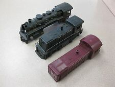 3 Vintage Marx Train Locomotives Plastic Steam Engines For Parts FREE SHIPPING