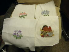 4 completed cross stitch projects(3 flowers & a setting hen)