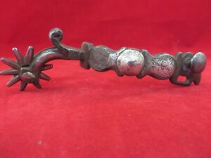 #11  SINGLE ANTIQUE CALIFORNIA SILVER MOUNTED DROP SHANK SPUR