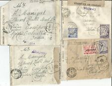 4 WWII Greek censored, mixed franking, angel stamp, etc, small covers to India
