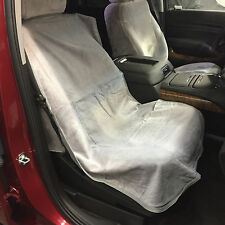 "Car Seat Towel Slip-On Cotton Terry Cloth Seat Cover in Solid Grey: 47"" X 24"""