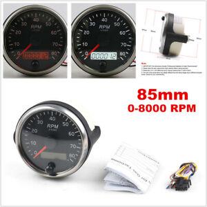 For 12V/24V 85mm 0-8000RPM Tachometer Gauge Tacho Meter w/ Digital LCD Hourmeter