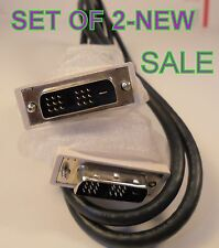 SET OF 2 NEW 5FT 5 FT DVI-D to DVI-D SUPER DVI Monitor M M Male 2 Male DVI Cable
