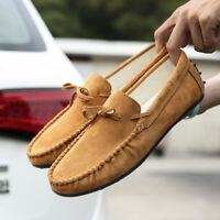 Men Casual Driving Loafers Suede Leather Moccasins Slip On Slippers Penny Shoes