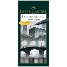 Faber-Castell Pitt Artist Pens SHADES OF GREY Brush 6 pc set 167104 Brand NEW!