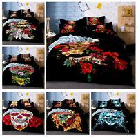 3D Skull Rose Comforter/Duvet Cover Bedding Set Flowers Pillowcase Quilt Cover