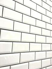White 3x6 Beveled Shiny Glossy Finish Ceramic Subway Tile Backsplash Wall Bath