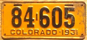 1931 Colorado License Plate Number Tag