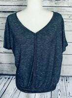Max Studio Women's XS Blouse V Neck Blue Short Sleeves Soft