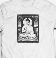 VINTAGE RETRO CHILLED BUDDHA DEITY SHAOLIN KUNG-FU 100% cotton Mens T-shirt TEE