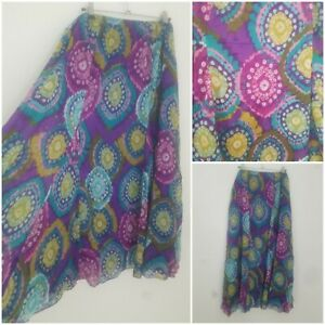 Vintage Boho Purple Turquoise Maxi Skirt Size 20/22 Peasant Gypsy Prairie Hippie