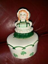Vintage Josef Originals Figurine Trinket Box Irish Girl Clovers