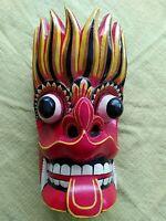 Original geschnitzte bunte bemalte Holzmaske aus Ceylon (Sri Lanka) Rar Vintage