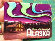 Alaska Magnet - Come visit beautiful Alaska Cabin with Aurora layered magnet