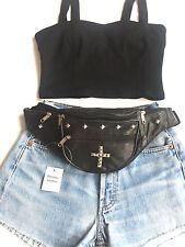 100% Leather Black Bum Bag, Fanny Pack, Cross, Studs, Urban, Hipster - Festival