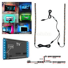 2x 50CM RGB TV Backlight LED Strip Lights USB PC Adjustable Colour Changing Kit