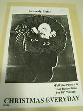 """UNCUT SCAREDY CATS! Christmas Everyday 10"""" WREATH Craft Pattern 1984"""