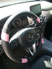 Black + Pink PU Leather Steering Wheel Cover Limited Edition Stylish Fashion