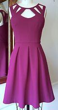Betsey Johnson Size 6 Purple Waffle Knit Cut-Out Neckline Pleat Skirt Mini Dress