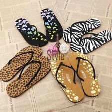 Ladies Womens Summer Flat Flip Flops Toe Post Thongs Beach Shoes Sandals Size HY Black White 38