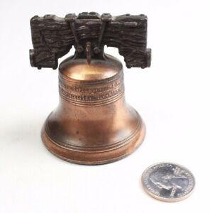 Miniature Liberty Bell Bronze Copper Vintage Travel Souvenir Bell