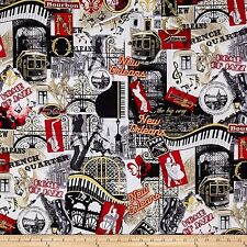 That's Jazz, New Orleans Collage Metallic 100% Cotton Fabric by Benartex  FQ