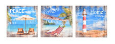 Canvas Prints - Set of 3 - Beach Surf Signs Printed Wall Art Decoration Home