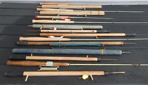 Vintage Ice Fishing Pole Lot of 15 Wood Fish Poles Jig Sticks Ice Picks Rods