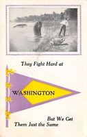 """""""They Fight Hard"""" in Washington Indiana~Exaggerated Fish~1913 Pennant Postcard"""