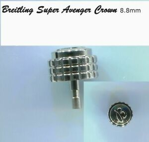 New !  Crown +Tube To fit Breitling Super Avenger Stainless Steel  8.8 mm A13370
